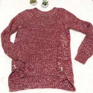 Marled white and red sweater